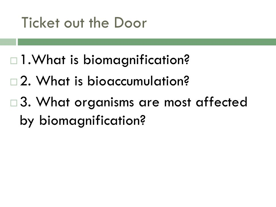 Ticket out the Door 1.What is biomagnification
