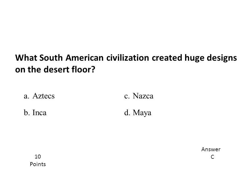 What South American civilization created huge designs