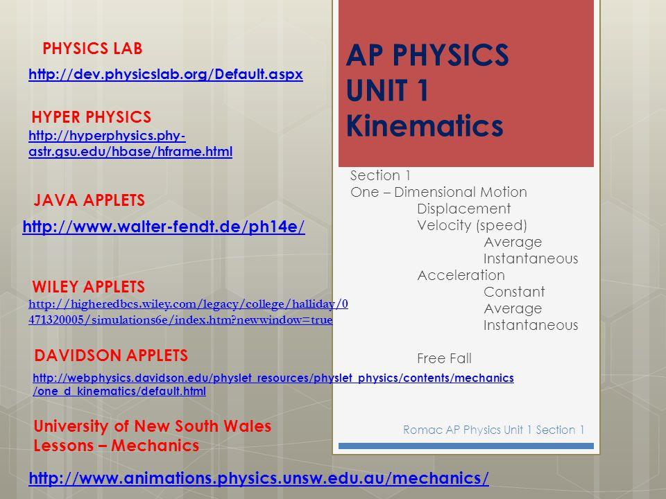 AP PHYSICS UNIT 1 Kinematics