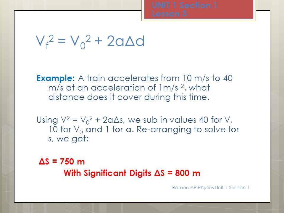 Vf2 = V02 + 2aΔd UNIT 1 Section 1 Lesson 3