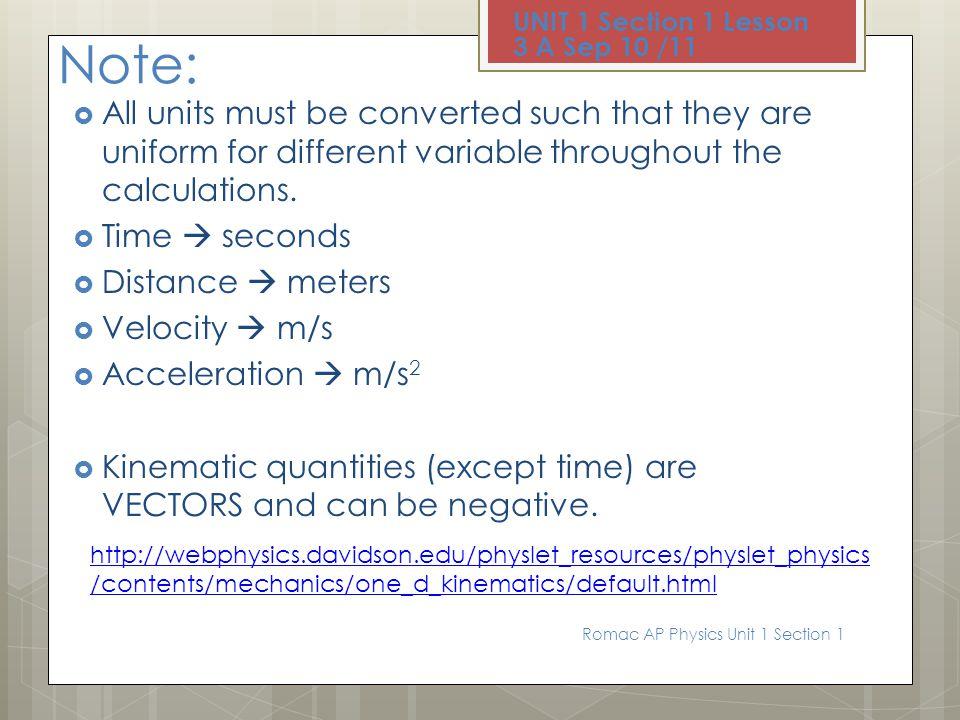 UNIT 1 Section 1 Lesson 3 A Sep 10 /11