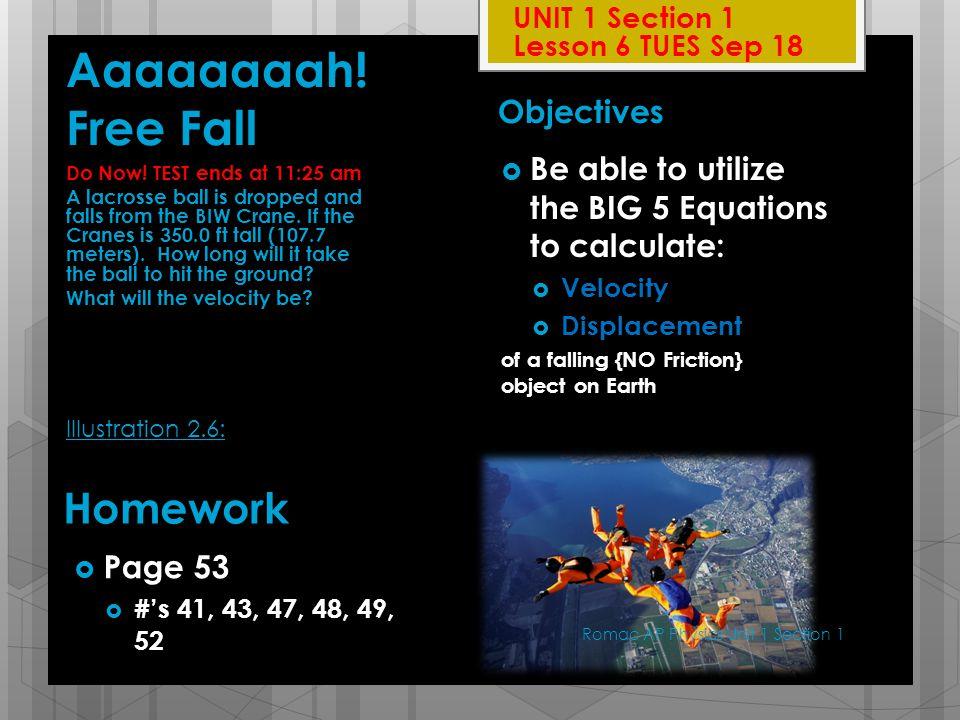 Aaaaaaaah! Free Fall Homework Objectives