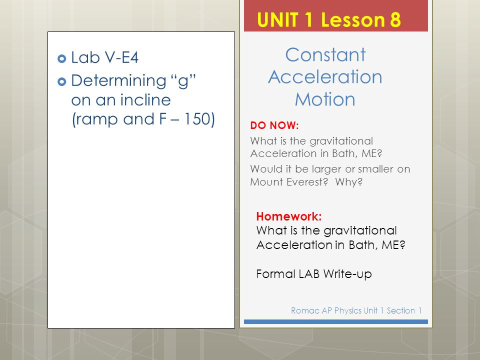 Constant Acceleration Motion