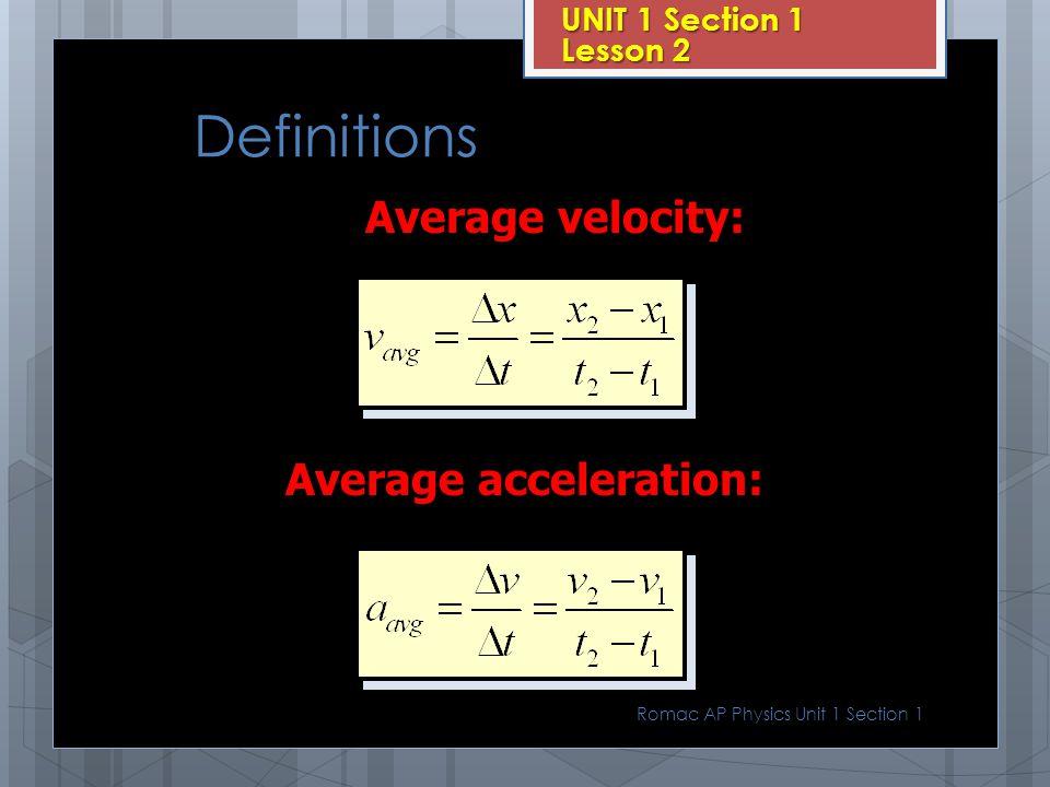 Average acceleration: