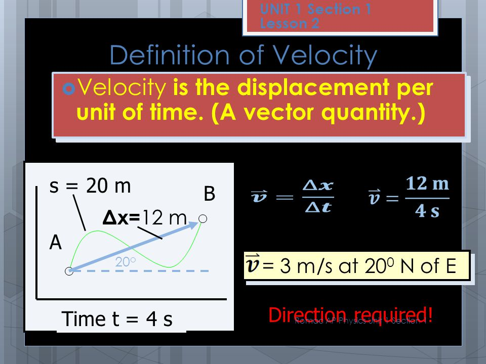 Definition of Velocity