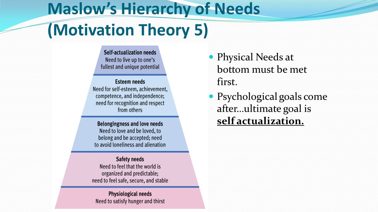 Maslow's Hierarchy of Needs (Motivation Theory 5)
