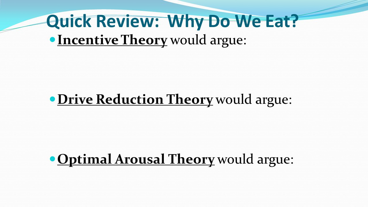 Quick Review: Why Do We Eat