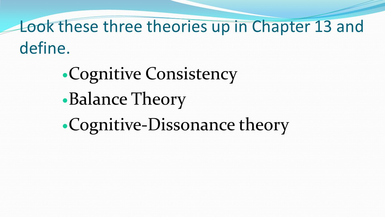 Look these three theories up in Chapter 13 and define.
