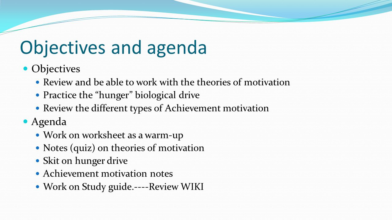 Objectives and agenda Objectives Agenda