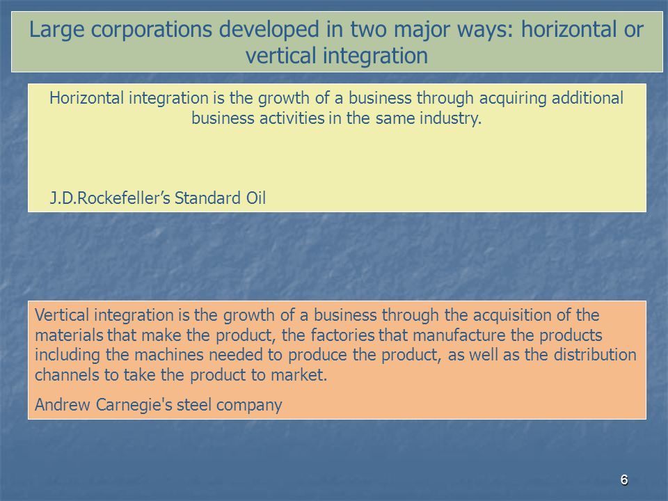 Large corporations developed in two major ways: horizontal or vertical integration