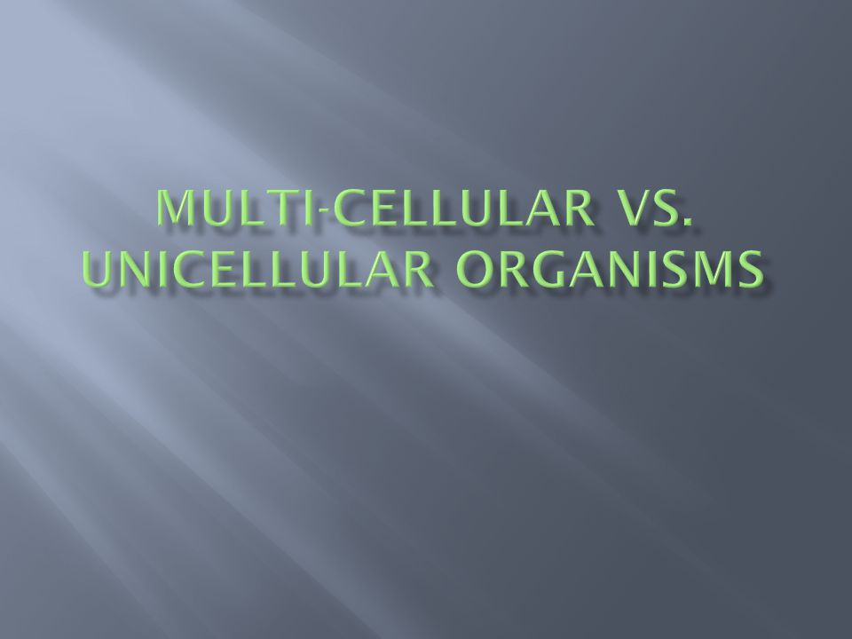 MULTI-CELLULAR VS. UNICELLULAR ORGANISMS