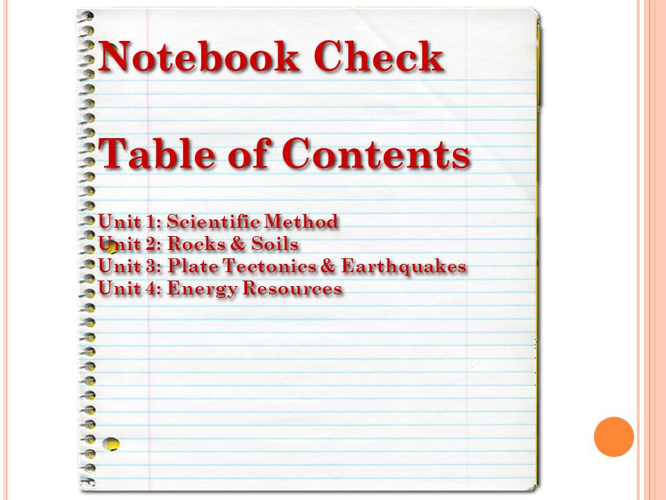 Notebook Check Table of Contents