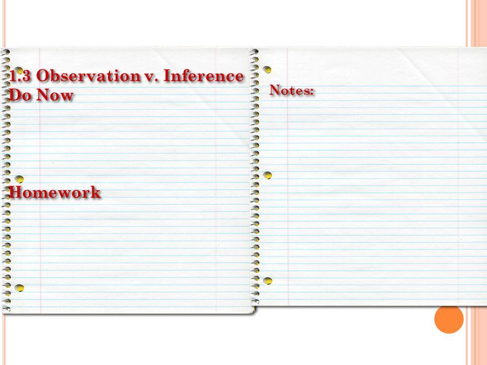 1.3 Observation v. Inference Do Now