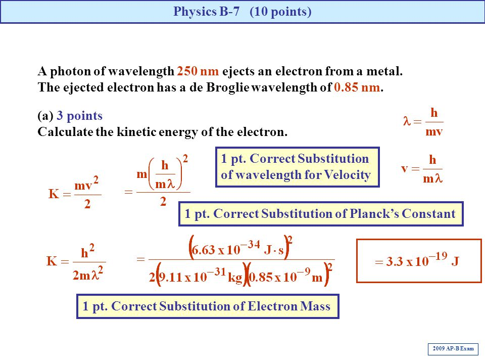 Calculate the kinetic energy of the electron.