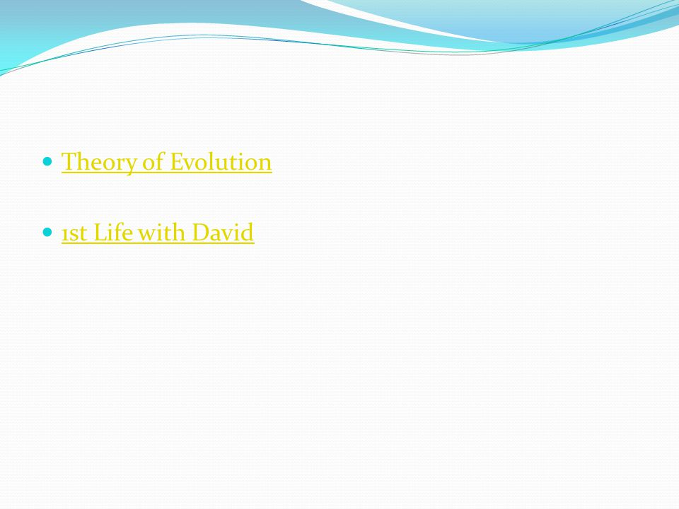 Theory of Evolution 1st Life with David