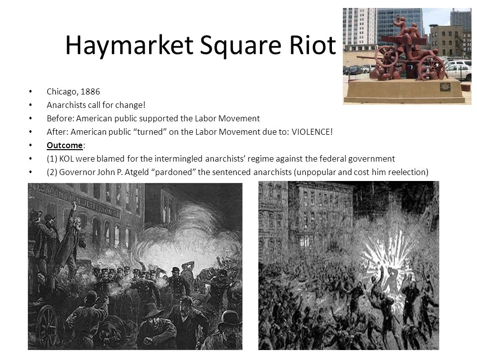 Haymarket Square Riot Chicago, 1886 Anarchists call for change!