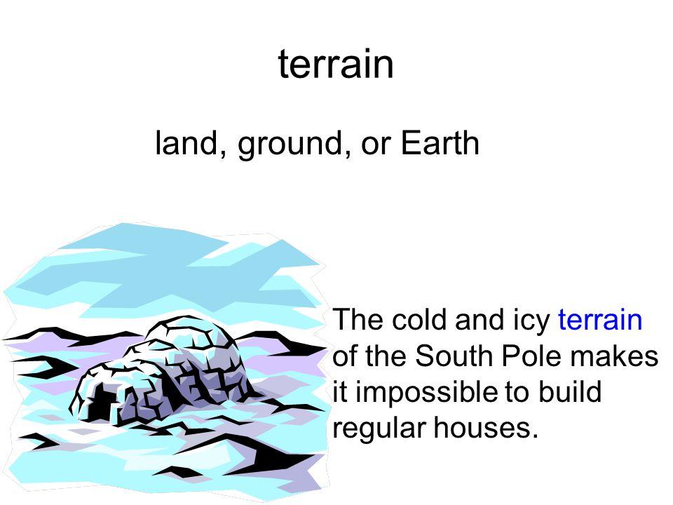 terrain land, ground, or Earth.