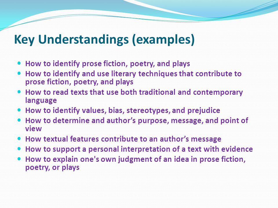 Key Understandings (examples)