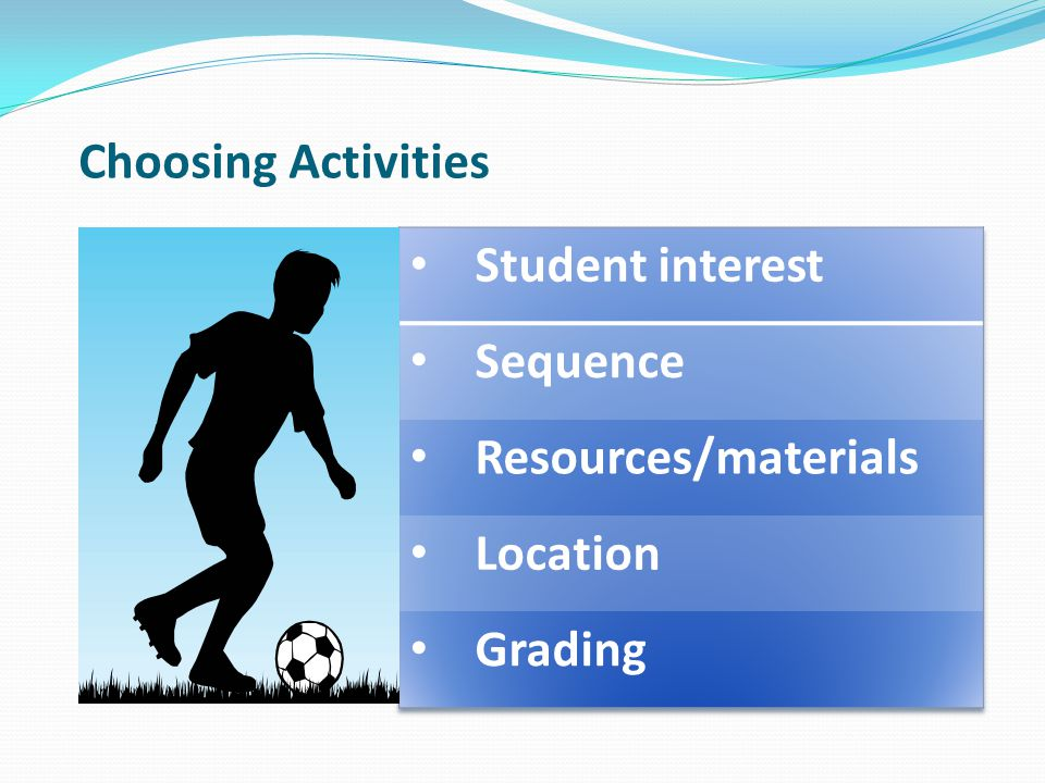 Choosing Activities Student interest Sequence Resources/materials