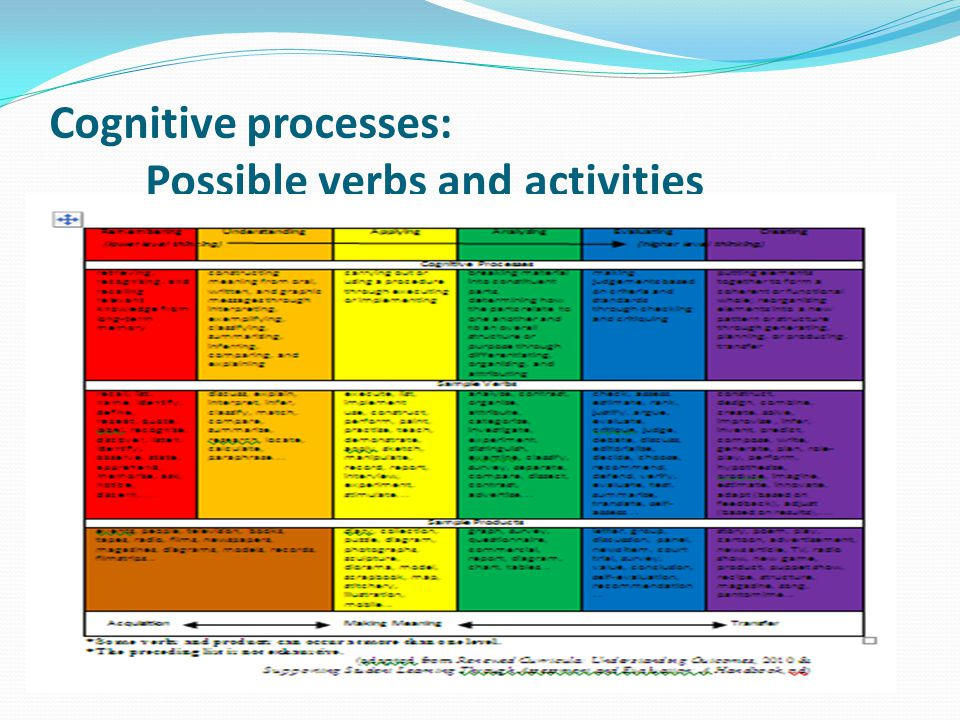 Cognitive processes: Possible verbs and activities