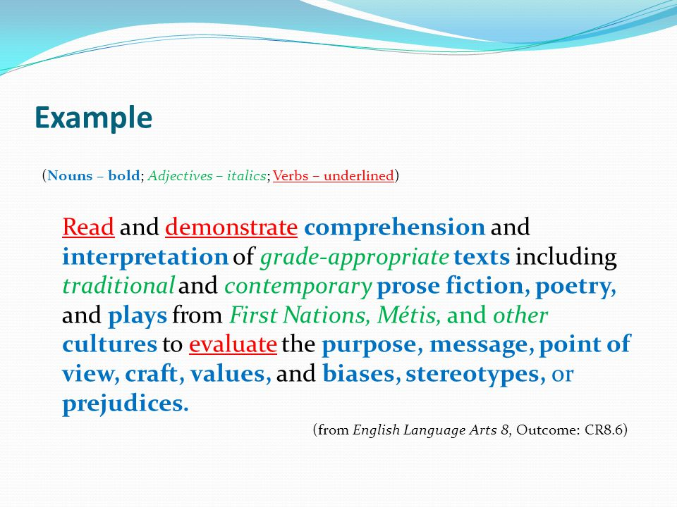 Example (Nouns – bold; Adjectives – italics; Verbs – underlined)