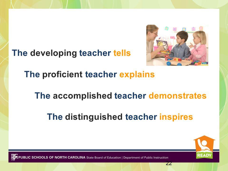 The developing teacher tells The proficient teacher explains