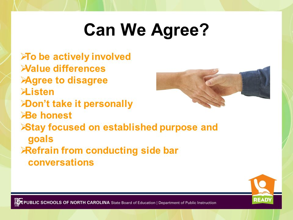 Can We Agree To be actively involved Value differences