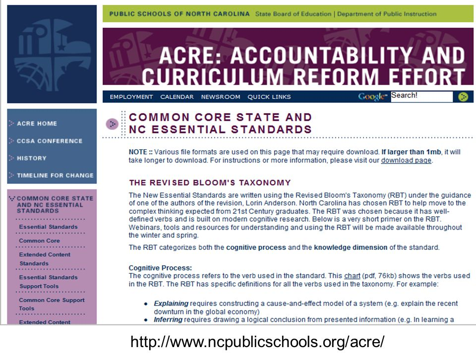 Go to ACRE site to demonstrate where all the SCoS materials are located. Go to Literacy standards for next activity.