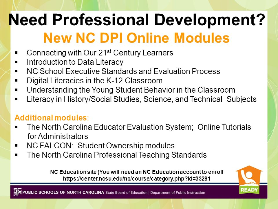 Need Professional Development New NC DPI Online Modules