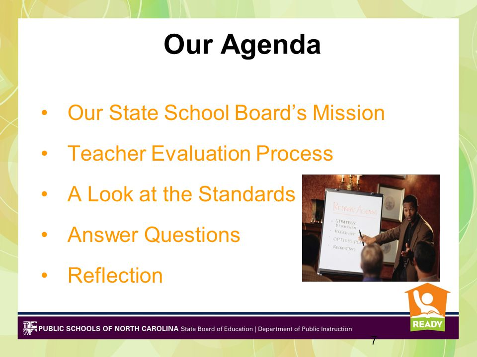 Our Agenda Our State School Board's Mission Teacher Evaluation Process