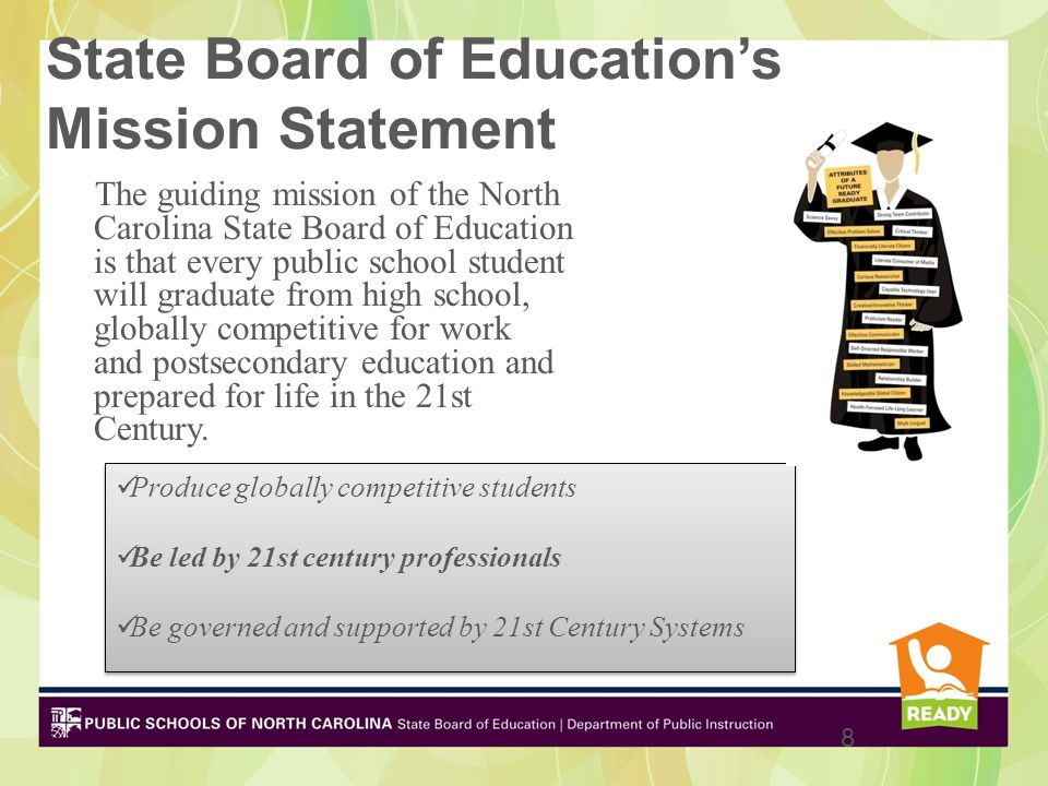 State Board of Education's Mission Statement