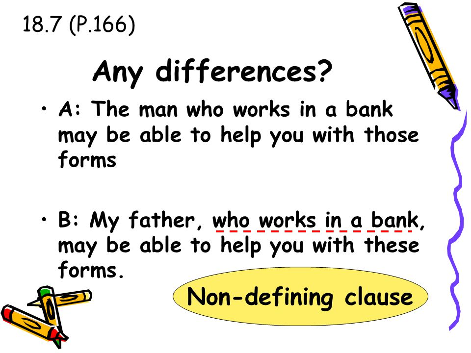 Any differences Non-defining clause 18.7 (P.166)
