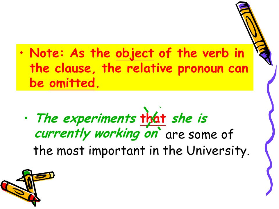 Note: As the object of the verb in the clause, the relative pronoun can be omitted.