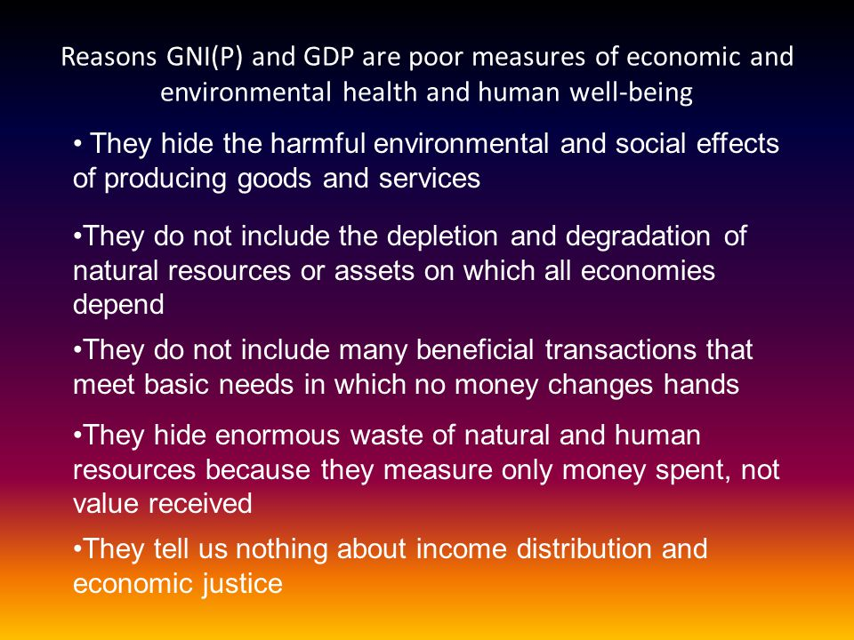 Reasons GNI(P) and GDP are poor measures of economic and environmental health and human well-being