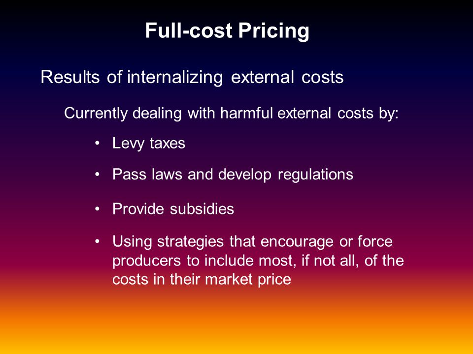 Full-cost Pricing Results of internalizing external costs