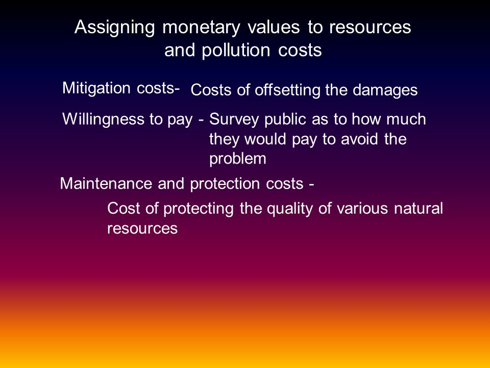 Assigning monetary values to resources and pollution costs