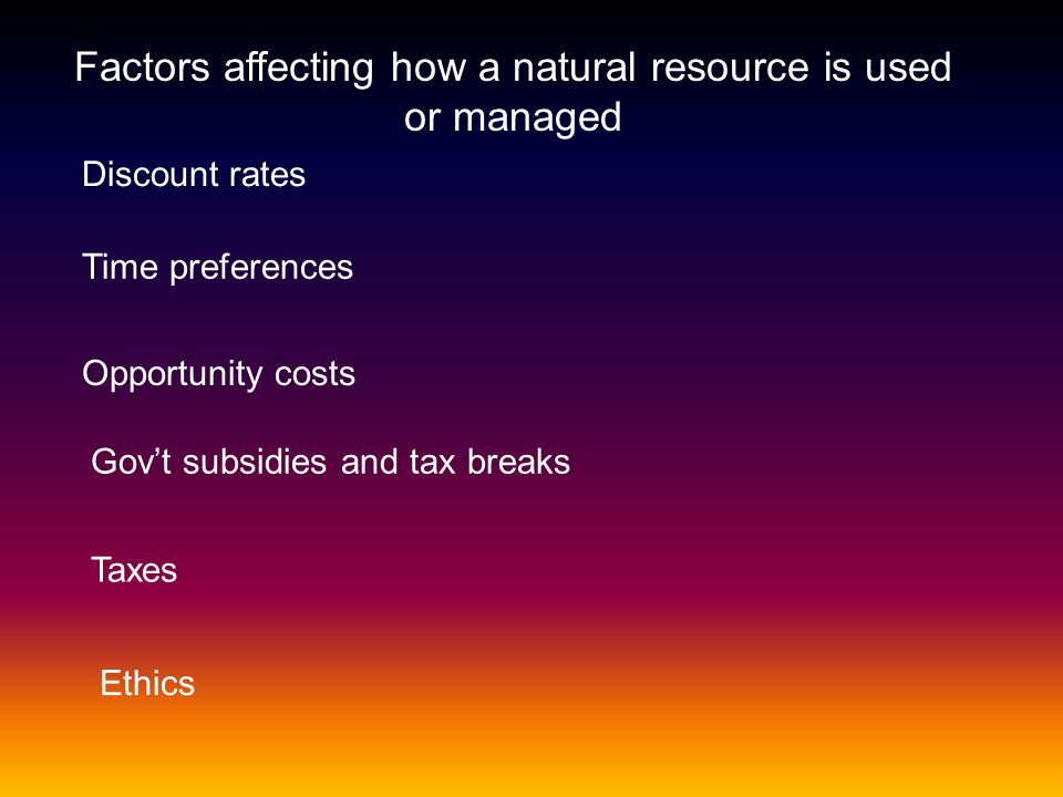 Factors affecting how a natural resource is used or managed