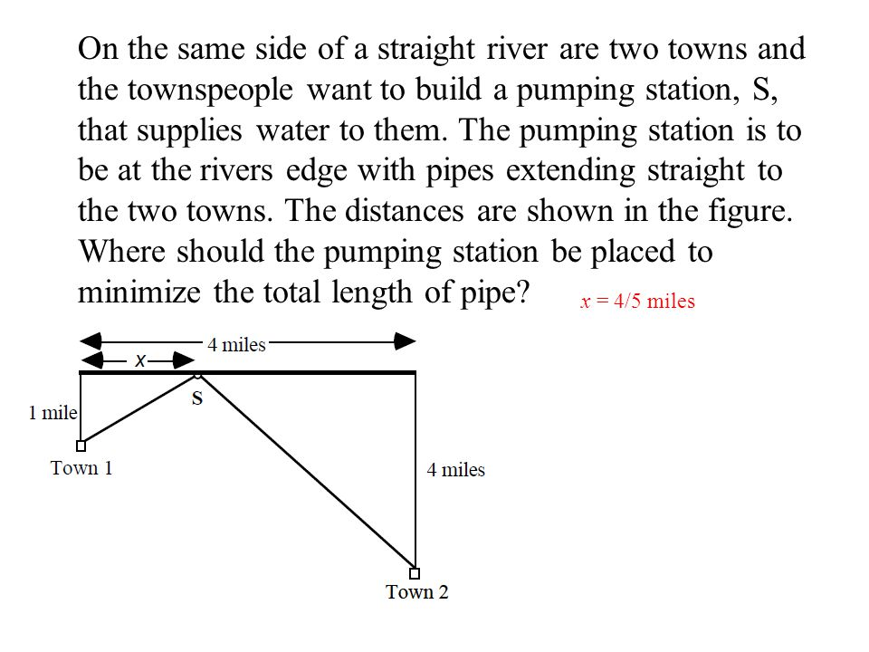 On the same side of a straight river are two towns and the townspeople want to build a pumping station, S, that supplies water to them. The pumping station is to be at the rivers edge with pipes extending straight to the two towns. The distances are shown in the figure. Where should the pumping station be placed to minimize the total length of pipe