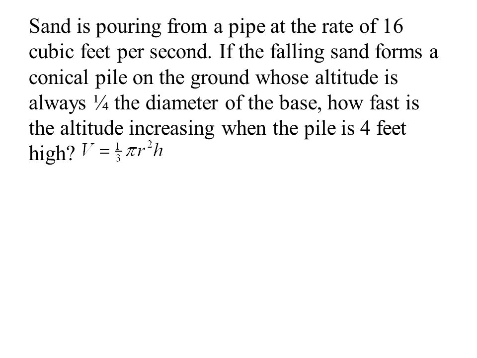 Sand is pouring from a pipe at the rate of 16 cubic feet per second