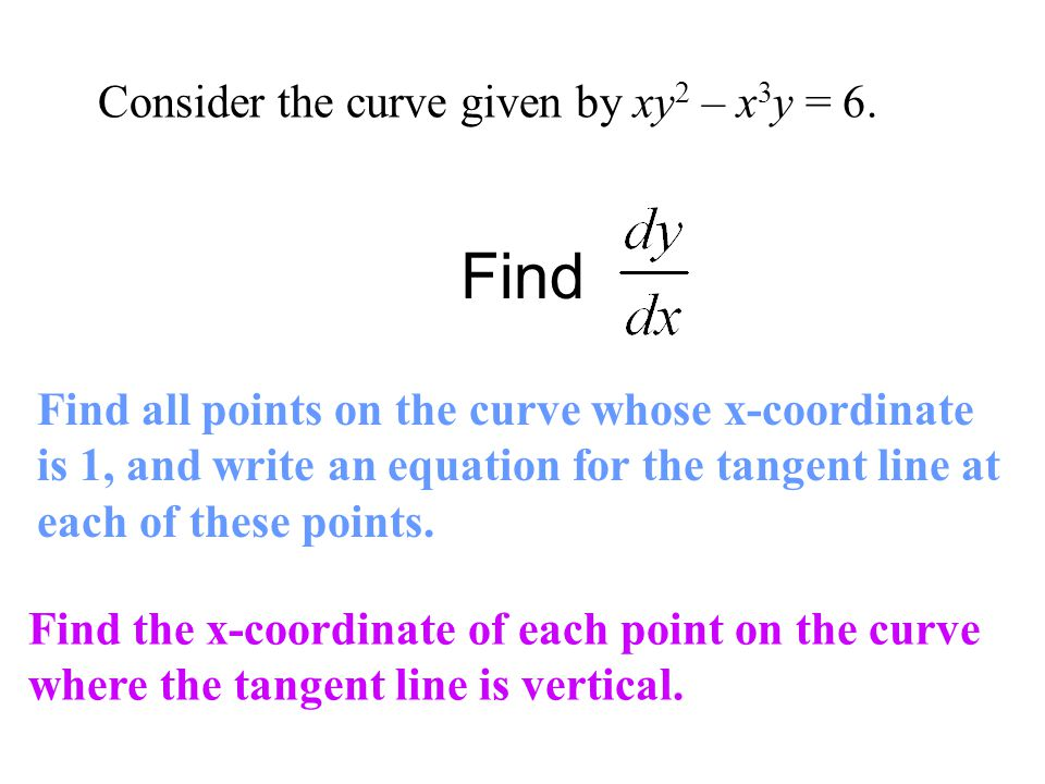 Find Consider the curve given by xy2 – x3y = 6.