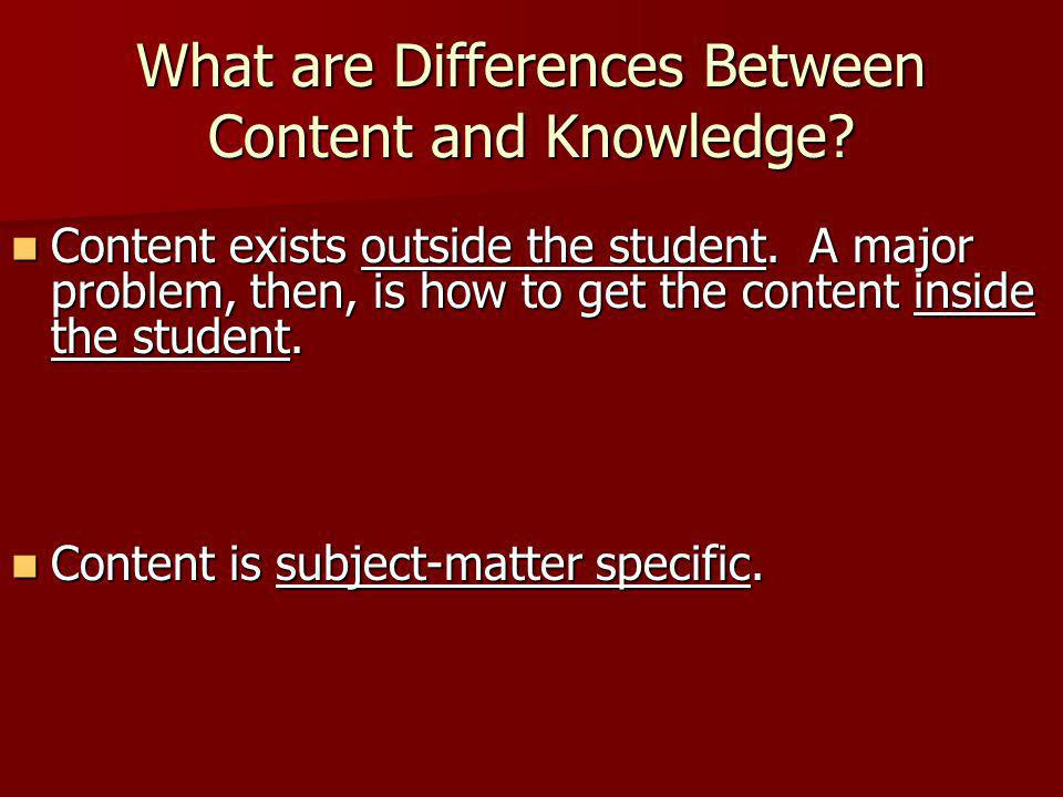 What are Differences Between Content and Knowledge