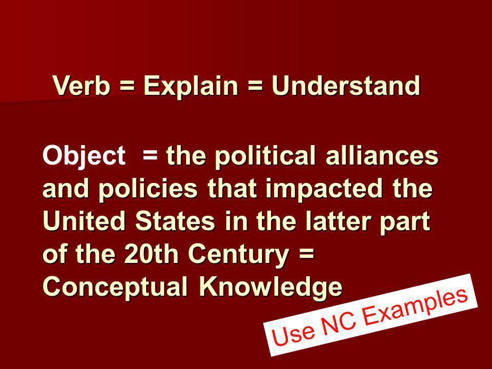 Verb = Explain = Understand