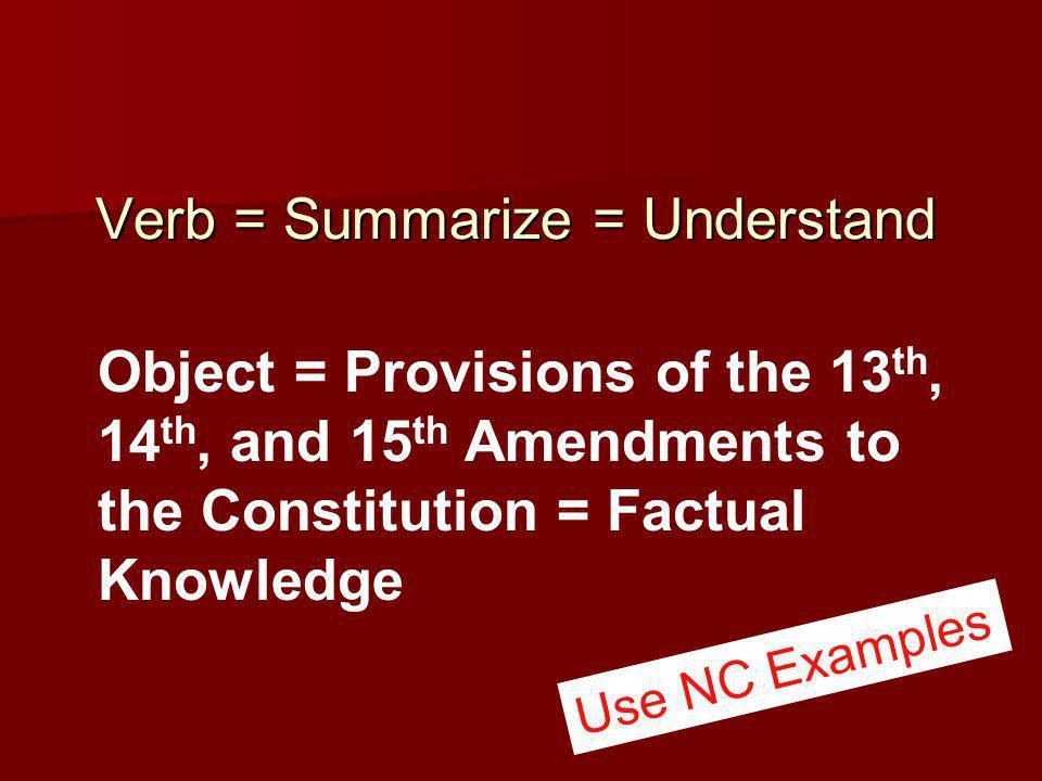 Verb = Summarize = Understand