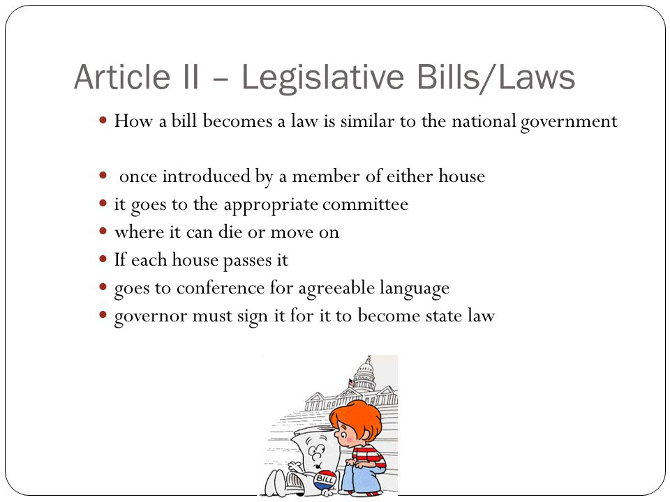 Article II – Legislative Bills/Laws
