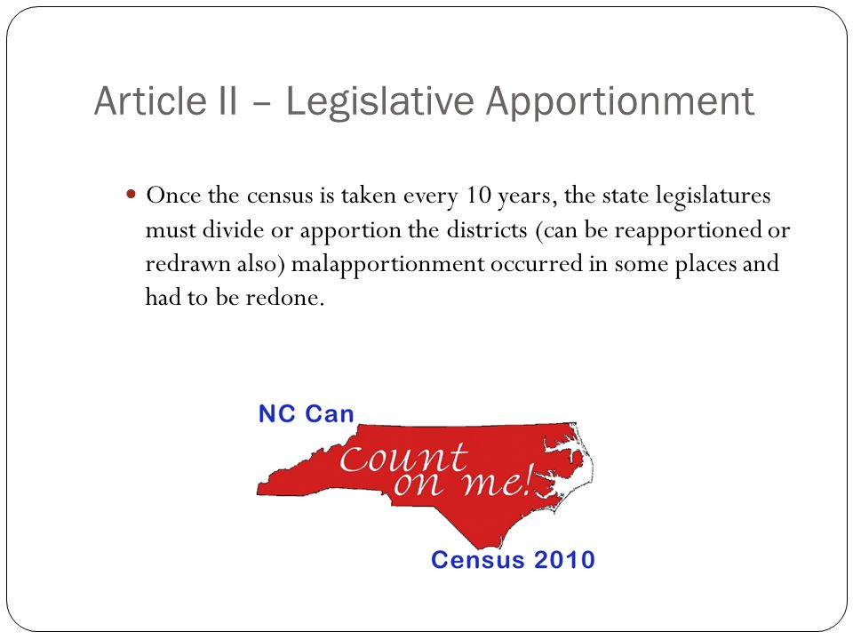Article II – Legislative Apportionment