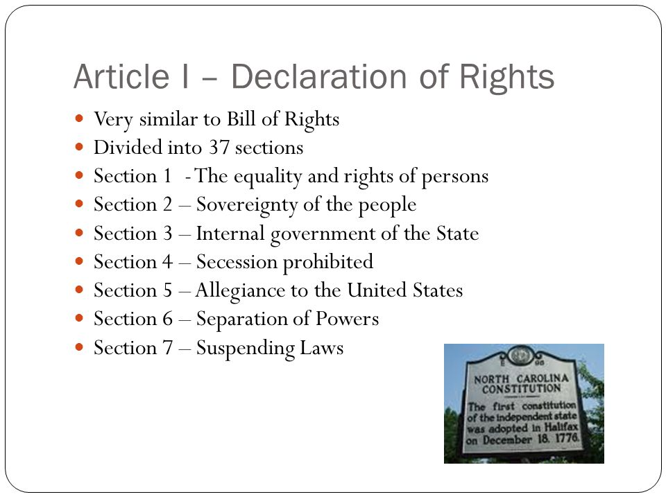 Article I – Declaration of Rights