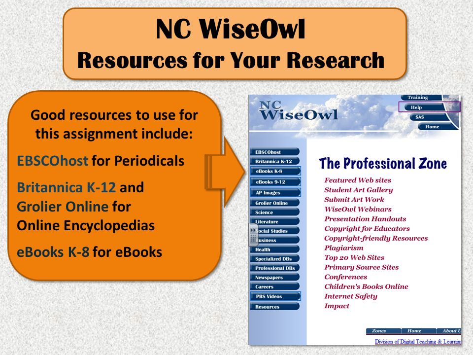 NC WiseOwl Resources for Your Research Good resources to use for