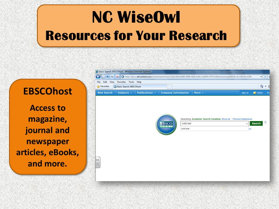 NC WiseOwl Resources for Your Research EBSCOhost