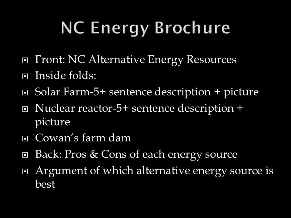 NC Energy Brochure Front: NC Alternative Energy Resources
