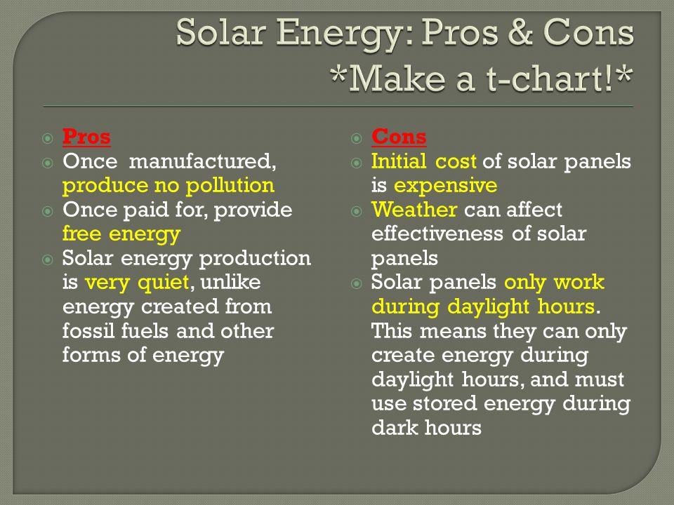 Solar Energy: Pros & Cons *Make a t-chart!*